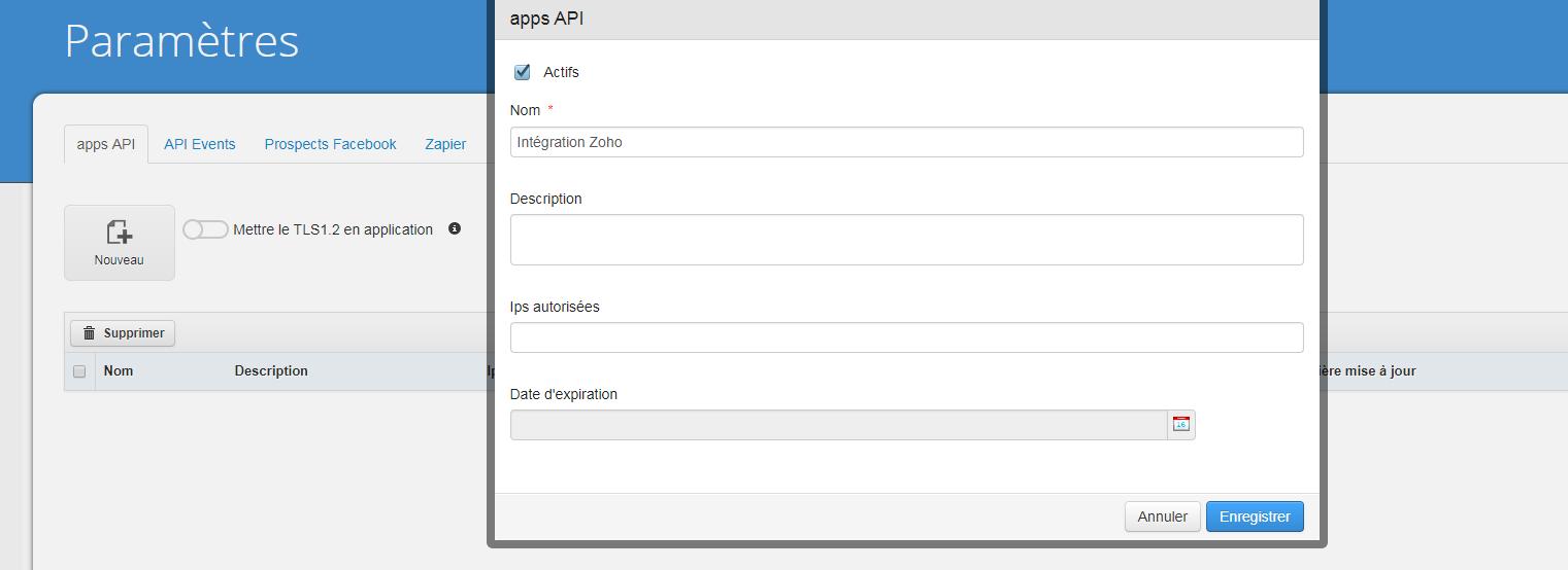Jeton API Intégration Zoho